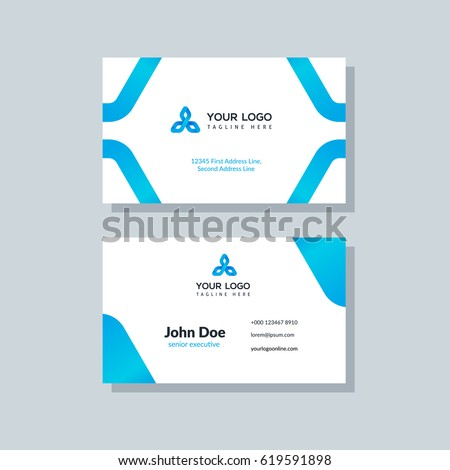 Modern blue business card template flat stock vector 619591898 modern blue business card template in flat design abstract background personal plain design with colourmoves