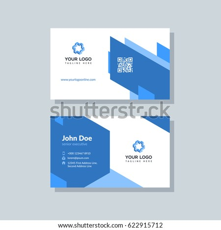 Modern blue business card template flat stock vector hd royalty modern blue business card template in flat design abstract background personal plain design with flashek Images