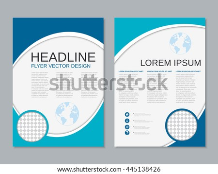 Modern blue business two-sided flyer geometric design vector template