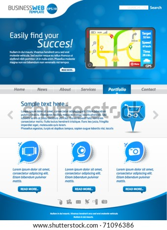 Modern blue business website template with gps - stock vector