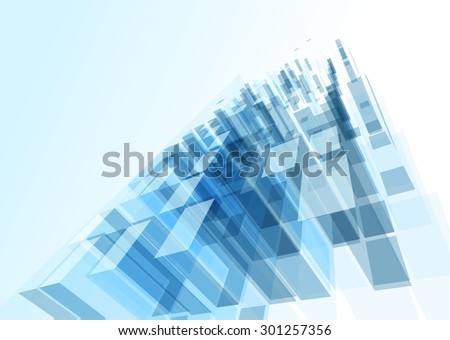 Modern blue glass wall of office building - stock vector