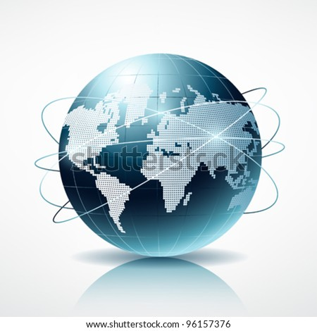 Modern blue globe connection vector illustration - stock vector