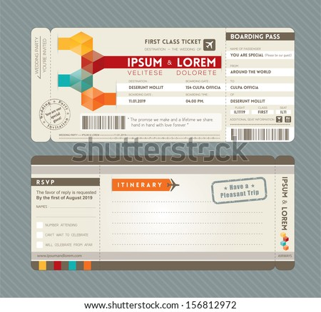 Modern Boarding Pass Ticket Wedding Invitation graphic design vector Template - stock vector