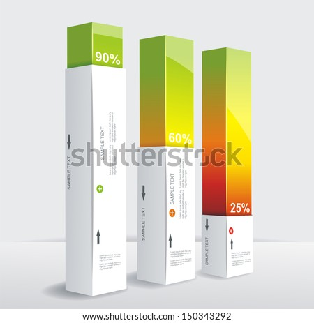 Modern box Design Minimal style infographic template. Can be used for diagram, numbered banners, percent columns. - stock vector