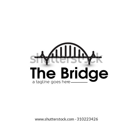 Modern Bridge Logo Design Element. - stock vector