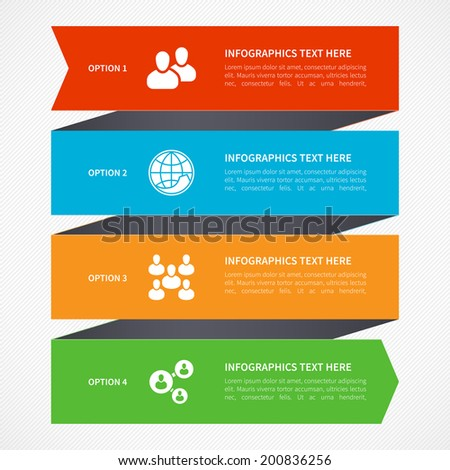 Modern bright minimal arrow step styled social network and business infographics options banner. Vector illustration. Flat design - stock vector