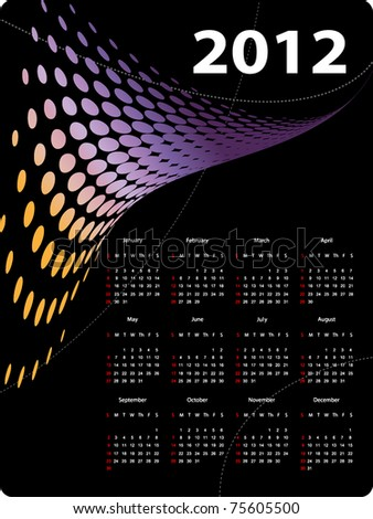 modern bright vector calendar for 2012 year - stock vector