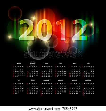 modern bright vector calendar for 2012 year. Eps10 - stock vector