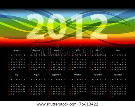 modern bright vector calendar for 2012 year. Eps10 - stock vector