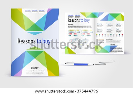 Modern brochure. Color application booklet template design for corporate identity with statistics and infographics. Cover layout and infographics. Business stationery. - stock vector