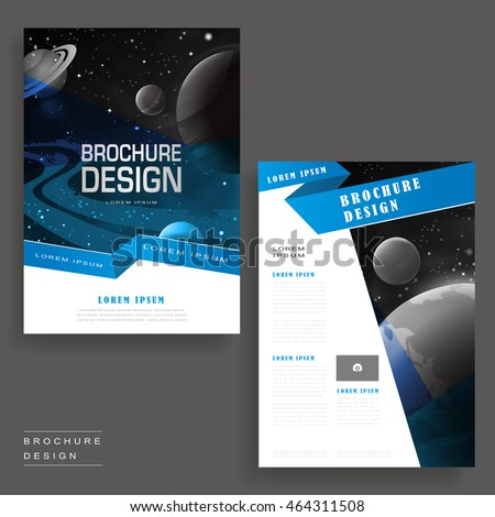 Modern Brochure Template Design Universe Scenery Stock Vector - Modern brochure template
