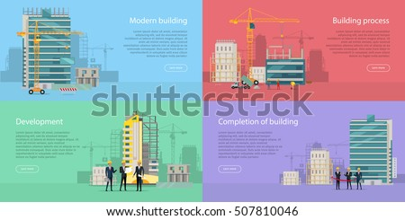 Process Construction Residential Houses Isolated Big Stock