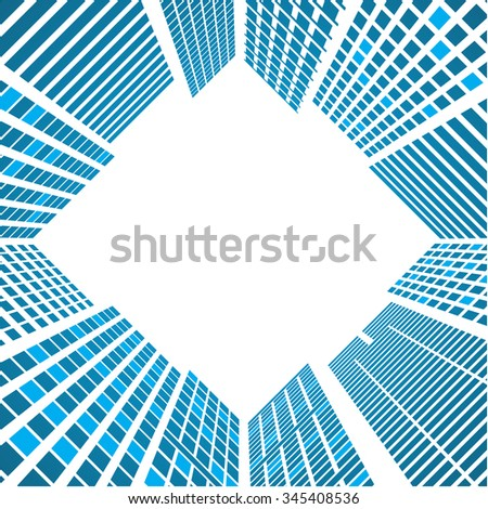 Modern Buildings glass silhouettes of skyscrapers in the city  - stock vector