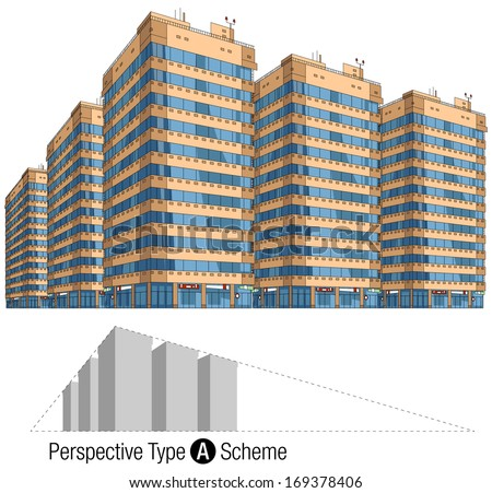 Modern buildings in vector. 2-points perspective view. All the elements are in the separate layers. Series of the cartoon buildings.