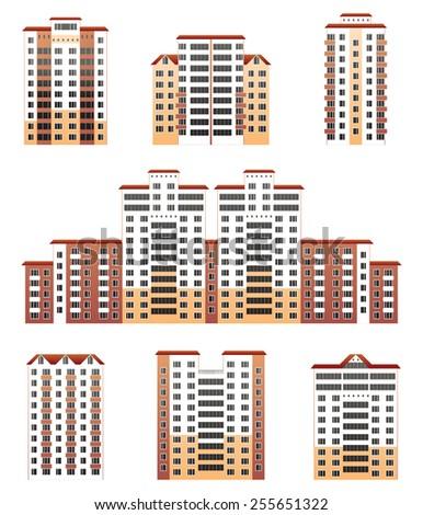 modern buildings set- vector illustration - stock vector