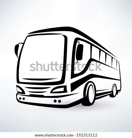 modern bus symbol, outlined vector icon - stock vector