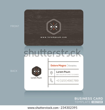 Modern business card design template dark stock vector 234302395 modern business card design template with dark wood background cheaphphosting Images