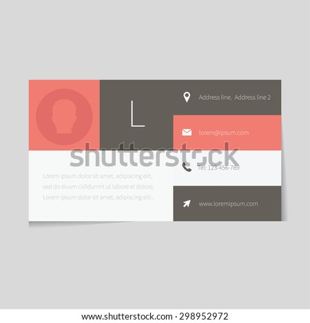 Modern business card for business man. Card in flat style design. Minimalistic design for universal use. Contemporary trendy style look.