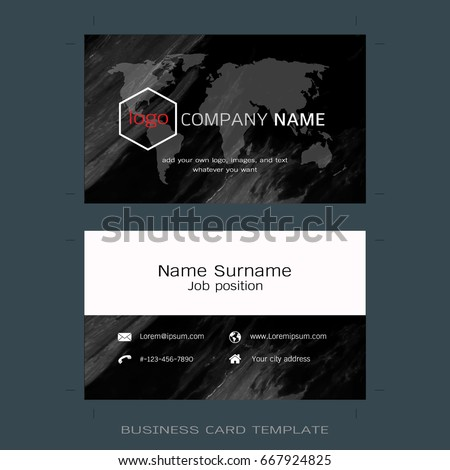 Modern business card layout templates world stock vector 2018 modern business card layout templates world map and marble texture background easy to use publicscrutiny Images