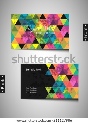 Modern business card or visiting card -vector illustration - stock vector