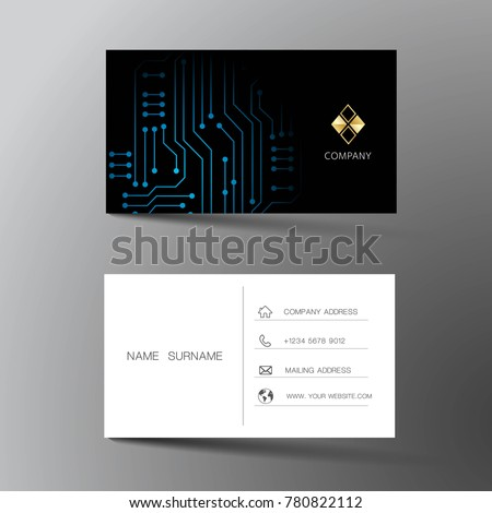Modern business card template design inspiration stock photo photo modern business card template design with inspiration from abstract digital circuit contact card for colourmoves