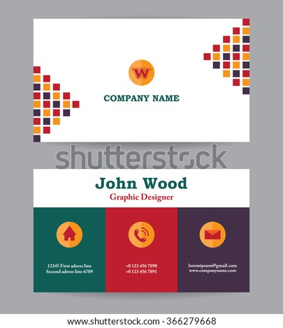 Modern Business Card Template Flat Design Stock Vector - Plain business card template