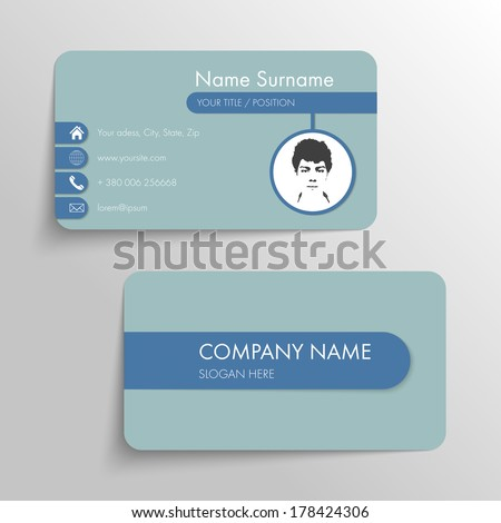 Modern business card template with flat user - stock vector