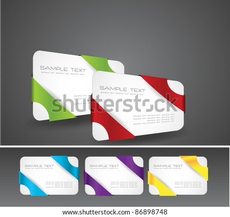 modern business card with ribbons - stock vector
