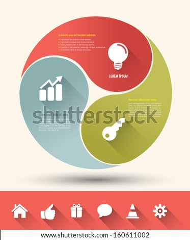 Modern business circle yin yang style options banner with icons long shadows. Vector illustration. can be used for workflow layout, diagram, number options, step up options, web design, infographics.  - stock vector