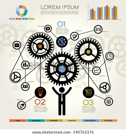 Modern Business Concept , Info Graphic Elements. Man Inserting a Cog Into Series. Complete the Process - stock vector