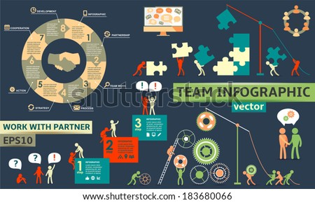 Modern Business Concept , Infographic Elements. Teamwork / partnership - stock vector