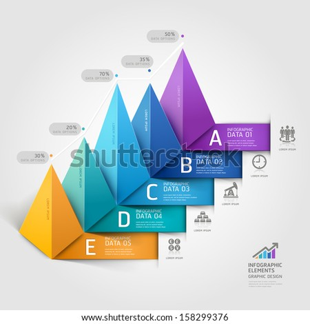 Modern business 3d triangle staircase diagram step options. Vector illustration. can be used for workflow layout, banner, number options, step up options, web design, infographics. - stock vector