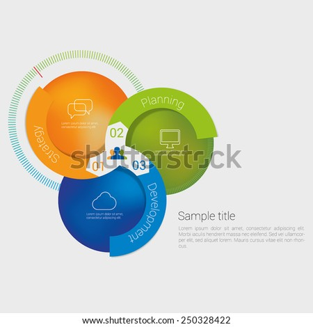 Modern business diagram. Vector illustration. Can be used for web design, infographics. workflow layout, number options, step up options.
