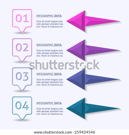 Modern business info graphics design arrows and number options - stock vector