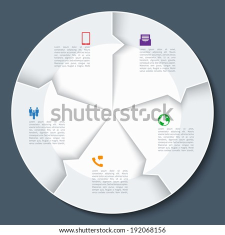 Modern business infographics circle. Origami style. Vector illustration. - stock vector