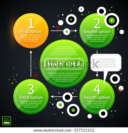 Modern business layout with green shapes and small flying circles. EPS10 vector template - stock vector