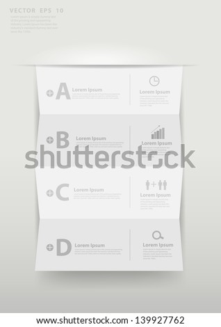 Modern business step folded paper style options banner, Vector illustration template design - stock vector