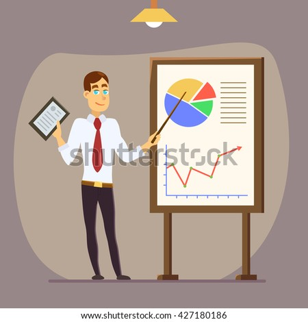 Modern business teacher giving lecture or presentation. Standing in front of whiteboard with tablet computer in hand. Modern flat style vector illustration