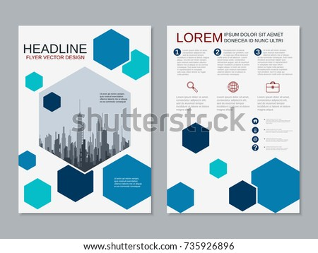 Blue hexagon annual report leaflet brochure stock vector for Two sided brochure template