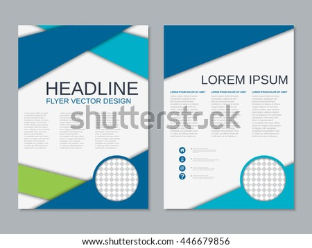 two sided brochure template - brochure template flyer design vector background stock