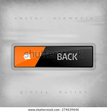 Modern button BACK with color space for icons. Vector design elements. - stock vector