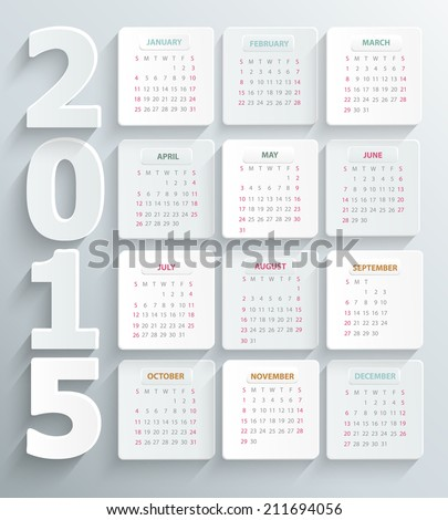 Modern calendar 2015 in a paper official style. Vector. - stock vector