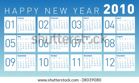 Modern Calendar 2010. Vector. Editable. - stock vector