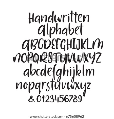 Modern Calligraphy Alphabet Handwritten Brush Letters Uppercase Lowercase Numbers Hand Lettering