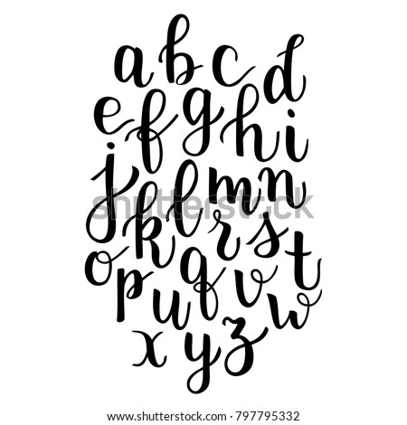 Modern Calligraphy Bounce Lettering Alphabet Hand Written Letters Apart Elements For Quotes Phrases Logos