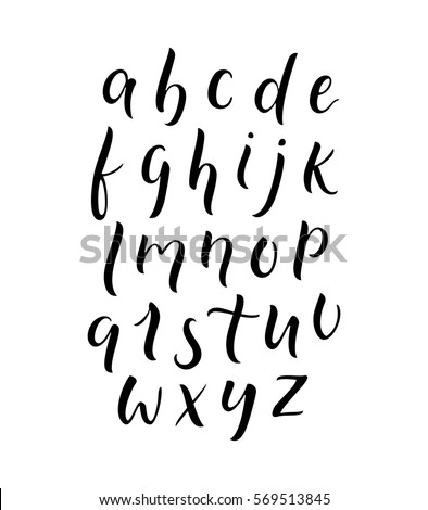 Modern Calligraphy Lowercase Alphabet Thick Thin Contrast Lettering Font Type Script