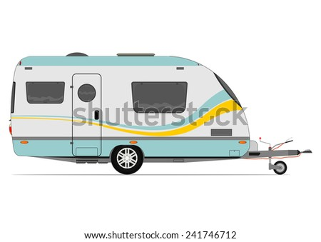 Modern caravan. Vector without gradients on one layer. - stock vector
