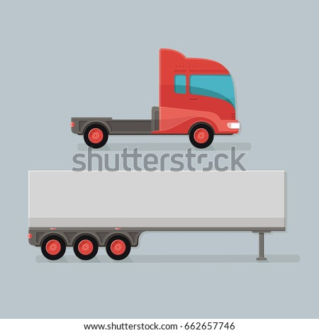 Modern Cargo Truck Trailer easy to edit vector template isolated on grey background. Delivery of goods by a large car. Flat style icon illustration design
