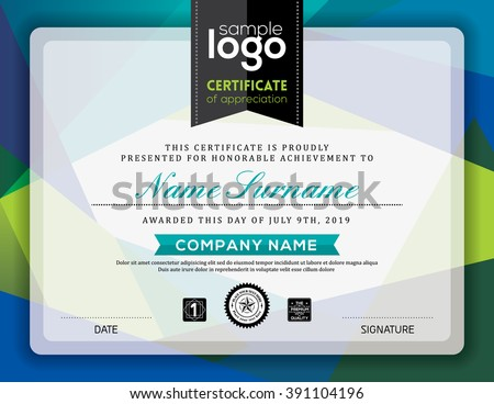 Modern certificate blue and green triangle shape background frame design template - stock vector