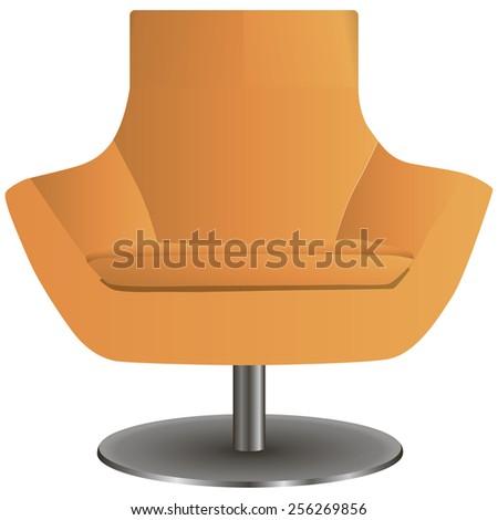 Modern chair on the central steel leg. Vector illustration. - stock vector